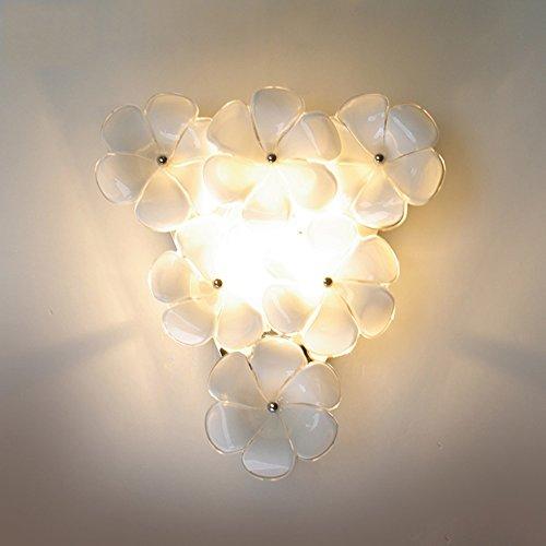 Modern Simple Pastoral Glass Petal LED Wall Lamp Romantic Warm Flower Lighting Bedroom Living Room Corridor Staircase - Flower Petal Sconce Shade