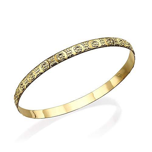 - Baltinester Jewish Jewelry Ornate Gold Moroccan Bangle Bracelet Solid 14k Yellow Gold Engraved Flowers Floral Bangle Delicate Stacking Bracelet for Women 5mm