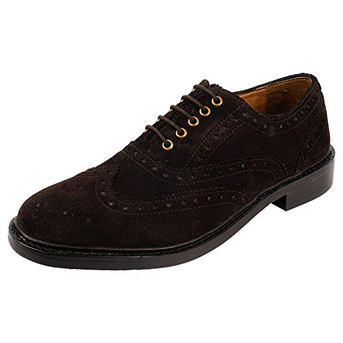Brown Imported - DLT Men's Genuine Imported Leather with Rubber Sole Goodyear Welted Oxford Dress Shoes 10 Dark Brown