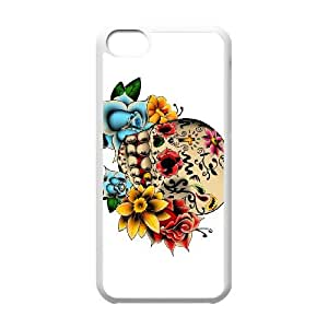 iPhone 5c Cell Phone Case White Sugar Skull Cover Phuy