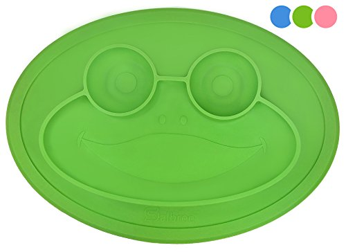 Round Silicone Suction Frog Placemat for Children, Kids, Toddlers, Babies Highchair Feeding Tray or Kitchen Dining Table with Built in Plate and Bowl, Comes with Travel Bag by Salbree, Green