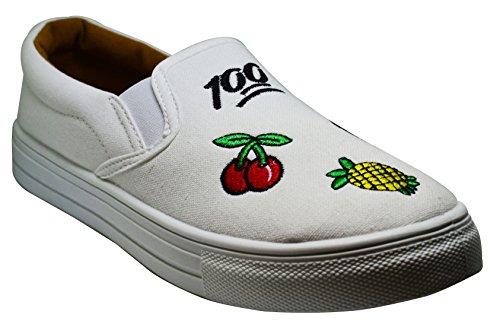 Womens 10 Patch Casual Black Flats Sneaker Canvas Embroider Size White Denim Reba 155B Qupid 6xAnqEPA