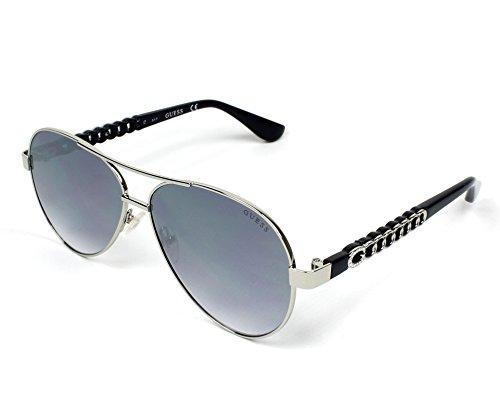 Guess g chaîne temple pilote lunettes de soleil en nickeltin de lumière brillant Gris miroir GU7518-S 10X 58 nickel/zinn hell glanz