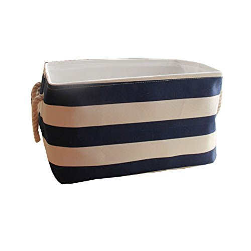 Ducklingup Waterproof Plastic-coated Navy Style Clothing Laundry Box Storage Bag Basket Hamper Blue and White Striped Small (Style22) by Ducklingup