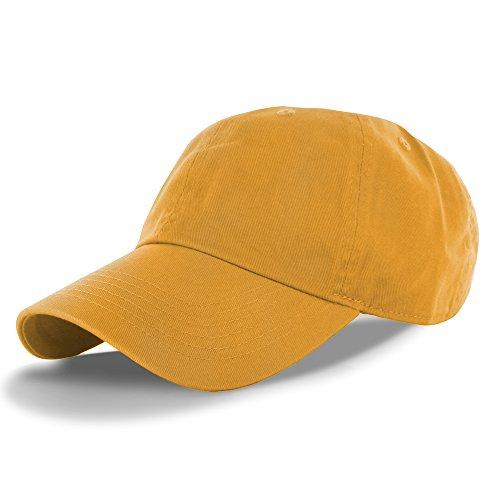 Plain 100% Cotton Hat Men Women Adjustable Baseball Cap (30+ Colors) Gold, One Size -