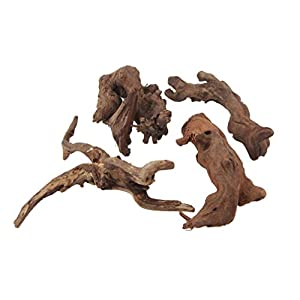 emours Natural Driftwood Branches Reptiles Aquarium Decoration Assorted Size,Small,4 Pieces 6
