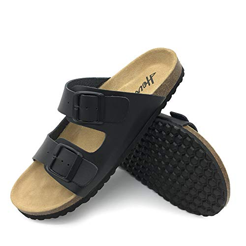 FUNKYMONKEY Men's Slides Sandal Double Buckle Adjustable Leather Flat Sandals (10 M US-Men, Black/Men)