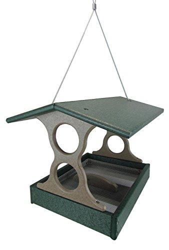 JCs Wildlife Medium Green/Tan Poly Fly-Thru Bird Feeder w/Removable Seed Tray