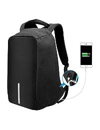 Anti-theft Business Laptop Backpack with USB Charging Port Shockproof Waterproof Travel Book School Bag for College Student Work Men & Women-Black