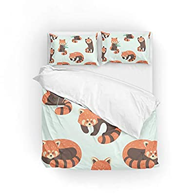 My Daily Cute Red Panda Duvet Cover Set 2 Piece Microfiber Polyester Pillowcase Quilt Kids Bedding Set Twin: Home & Kitchen