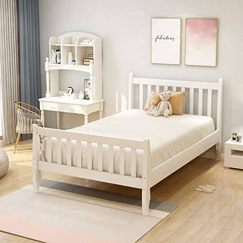 Danxee Wood Twin Bed Frame with Headboard and Footboard, Platform Bed Frame Mattress Foundation with Wood Slat Support for Kids, Teens, Twin White