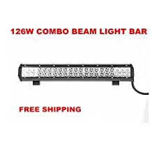 "Led Light Bar, Primeprolight 20"" 126W CREE LEDS Flood Spot Combo Beam Led Light Bar IP 67 Waterproof for Off-road Vehicle, ATV, SUV, UTV, 4WD, Jeep, Boat Black"