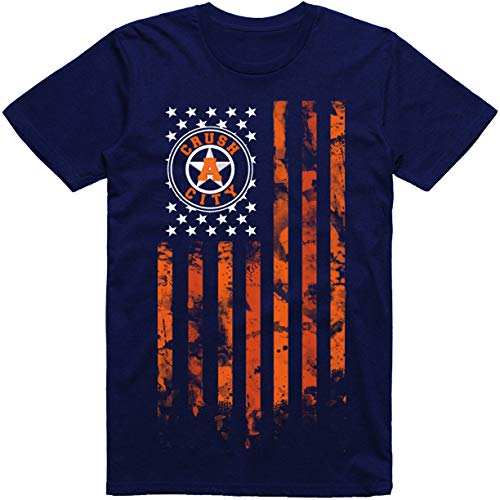 Vibeink Houston Crush City Flag H-Town T-Shirt (3X, Navy Blue)