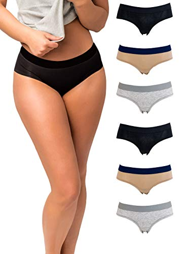 Emprella Panties for Women, 6 Pack Womens Hipster Underwear Soft Cotton Ladies Panty S-XL