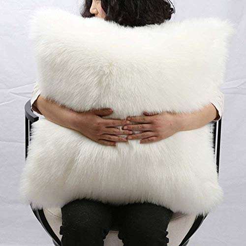 MADAM COCO Faux Fur Decorative Throw Pillow Two Sides Faux Sheepskin Pillow with Insert 20 by 20 Inches with Hidden Zipper.
