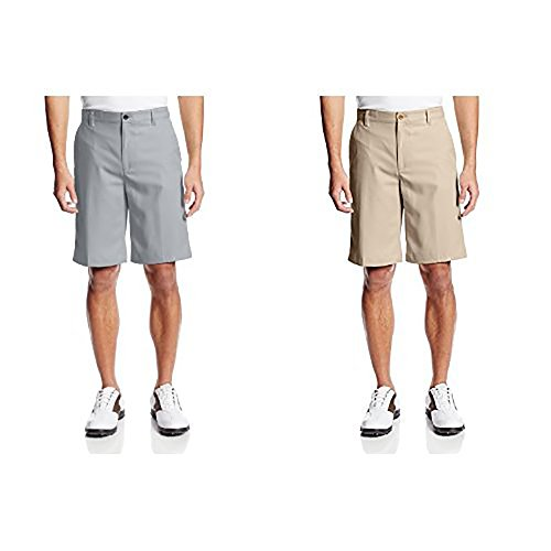 Front Fit Short - IZOD Men's Classic Fit Golf Short, Nickel and Khaki, 40W