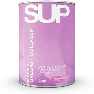 SUP Supplements Inner Glow Green's + Collagen Mixed Berry Powder, 0.35 kilograms