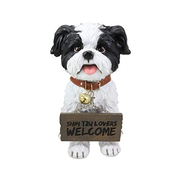 """Ebros Adorable Lifelike Panting Shih Tzu Toy Dog Breed Statue With Jingle Collar Welcome Greeting Sign 11.25""""Tall Realistic Shih Tzus Puppy Home And Garden Decor Figurine Animal Pet Memorial Sculpture 2"""