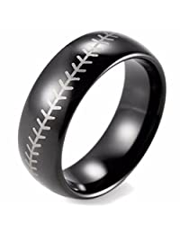 Baseball Stitch Pattern Ring Black Tungsten Band with Domed Edge - 8mm Tungsten Ring