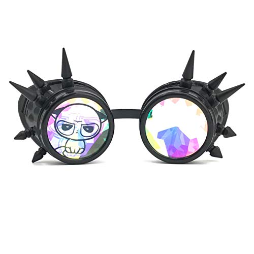 3D Rainbow Prism Kaleidoscope Rave Glasses, Diffraction Steampunk Goggles, Black Spikes, Grumpy Cute cat -