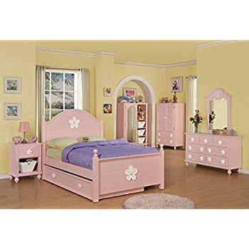 Image of Home and Kitchen Acme 00735T Floresville Twin Bed, Pink