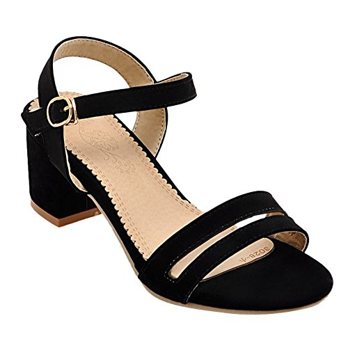 Carolbar Women's Solid Color Concise Mid Heel Ankle Strap Sandals Black