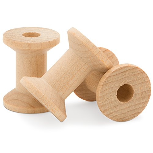 Wooden Hourglass Spools Unfinished 1-1/8 x 7/8 Inch -Pack of 25 by Woodpeckers