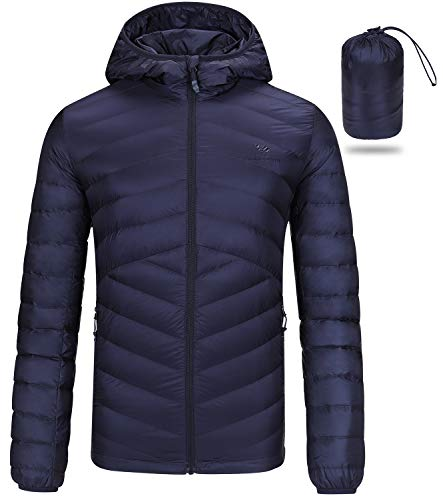 CAMEL CROWN Packable Down Jacket Men Hooded Classic Backpacking Lightweight Puffer Insulated Coat for Travel Outdoor Dark Blue
