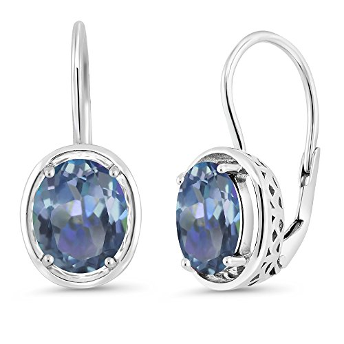 Gem Stone King 3.60 Ct Oval Cassiopeia Mystic Topaz 925 Sterling Silver Dangle Earrings