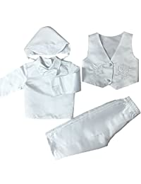 4 Pcs Cross Embroidery Christening Outfit for Boys (Newborn-2T) 685B