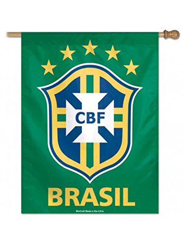 WinCraft Brazil Brasil National World Cup Soccer Vertical Green Flag (27'' x 37'') by WinCraft