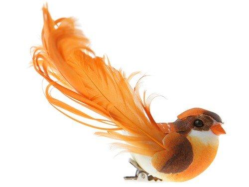 Deko-Vögel mit Clip orange, 12 x 3,8 cm, 2 Stück, Tisch- und Raumdeko