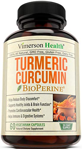 Turmeric Curcumin with BioPerine - Anti-Inflammatory & Antioxidant Supplement with 10mg of Black Pepper for Absorption and Best Results. All Natural & Non-Gmo Joint Pain Relief by Vimerson Health