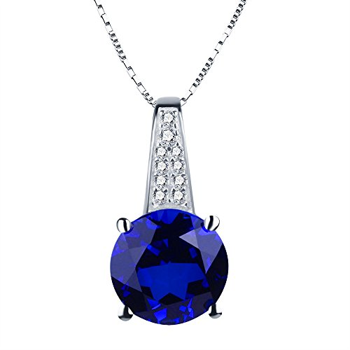 ANGG 2ct Blue Sapphire Round Cut Necklace Pendant 925 Sterling Silver Jewelry for (Super Fine Sapphire Necklace)