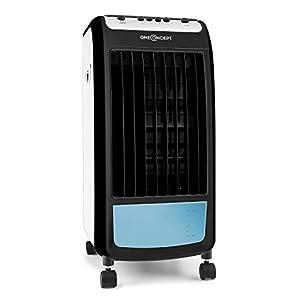 Oneconcept-Caribbean-Blue-Enfriador-de-aire-portatil-Ventilador-Humidificador-3-velocidades-Caudal-de-aire-400-mh-70-W-Tanque-4-L-2-recipientes-hielo-Oscilacion-4-ruedas-Ebano