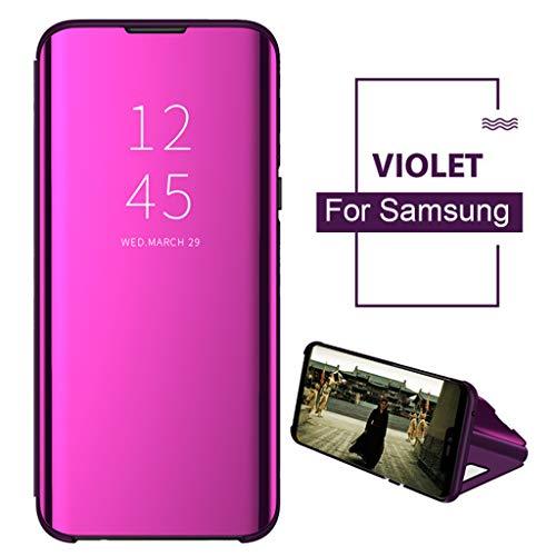 BINMUO Smart View Mirror Flip Stand Case Cover for Samsung Galaxy S10e 5.8inch/S10 6.1inch/S10 Plus 6.4inch