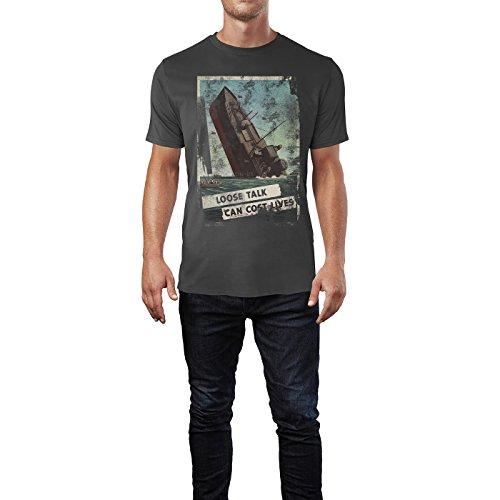 SINUS ART® Sinking Ship Herren T-Shirts stilvolles rauch graues Fun Shirt mit tollen Aufdruck
