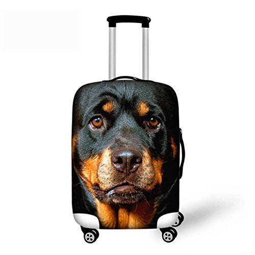 CHAQLIN 3D Rottweiler Face Suitcase Protective Cover for (Scratched Face Halloween)