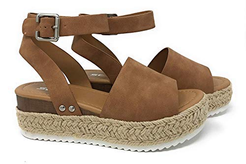 Womens Casual Espadrilles Trim Rubber Sole Flatform Studded Wedge Buckle Ankle Strap Open Toe Sandals Tan 7.5