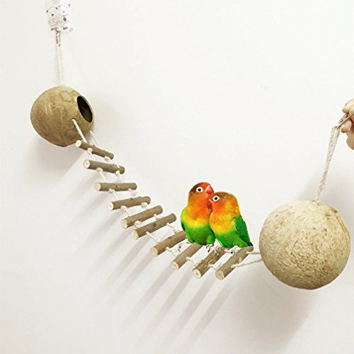 Be Good Pet Bird Hamster Toy Swings with 2 Natural Coco Hideaway Perch Cage Climbing Rope Ladder Hanging Toy for Cockatiel Conure Parakeet Small Macaw Hamster Small Animals by Be Good