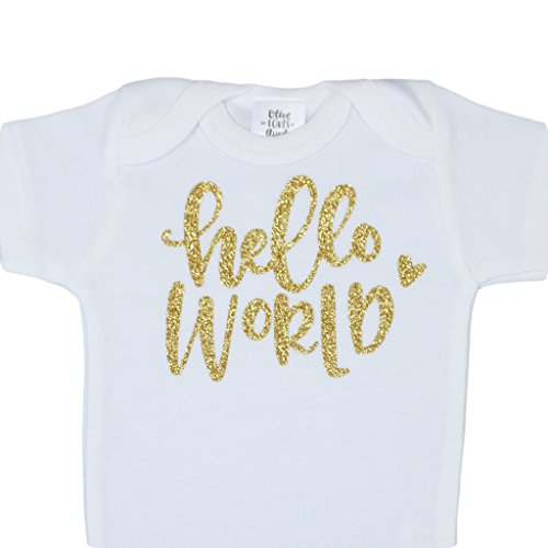 Olive Loves Apple Newborn Take Home Bodysuit Hello World Girl Coming Home Outfit Gold,Gold,0-3 Months Short Sleeve