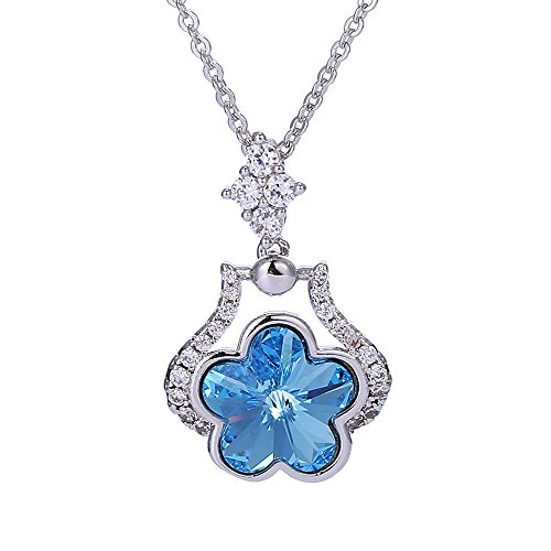 Costumes Dubai Marina (Xuping Cyber Monday Christmas Gift Beauty Flower Jewelry Crystals from Swarovski Necklace Pendant With Chain Women (Aquamarine))
