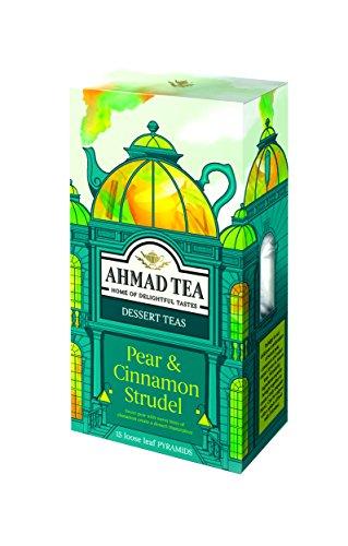 Cinnamon Pears - Ahmad Tea Loose Leaf Pyramid Teabags, Pear & Cinnamon Strudel, 15 Count