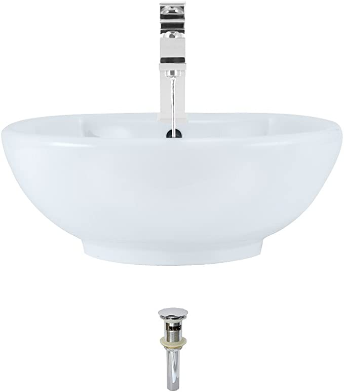 Porcelain Vessel Sink Chrome Ensemble