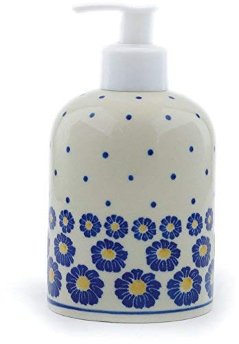 (Polish Pottery Soap Dispenser Made by Ceramika Artystyczna (Flower Pads Theme) + Certificate of Authenticity)