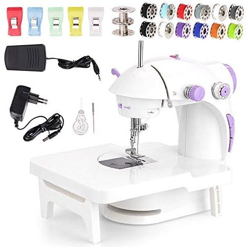 chollos oferta descuentos barato Faburo Mini máquina de coser con estantería de expansión y 10 bobinas de hilo sin batería