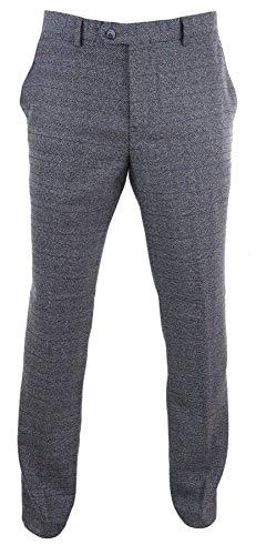 Longueur Standard Classique Tweed Pantalon burnaby 20 Bleu Laine Carreaux Vintage Effet Années Homme Cavani Coupe PSAqwa