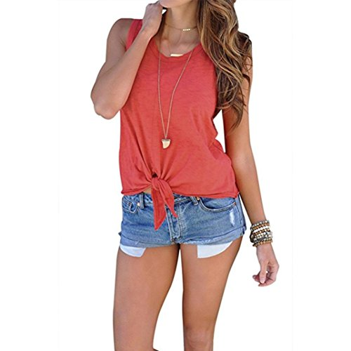 Hot!Aniywn Women's Summer Sleeveless Tie Knotted Solid Color Round Neck Cami Tank Casual (Scoop Neck Love Square)