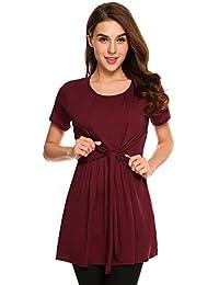 Meaneor Womens Short Sleeve Round Neck Nursing & Maternity Shirt Tops