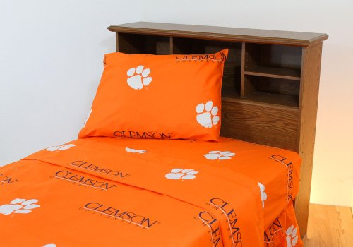 Orange Collegiate Tigers Full Sheet Set - NCAA Clemson Bedding Full Bed by College Covers